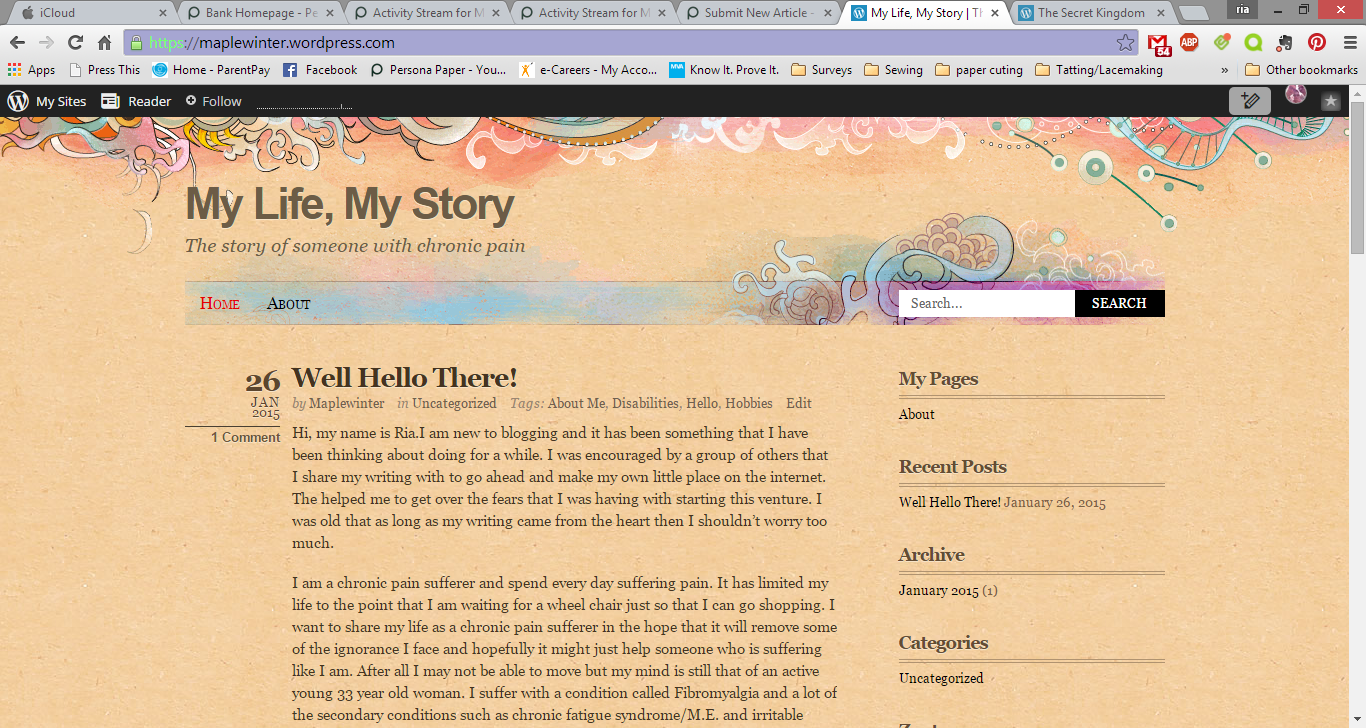 This is a screenshot of my own personal blog. You can find my blog at: https://maplewinter.wordpress.com/